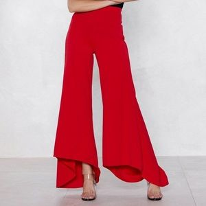 Red Flare Wide Leg Pants